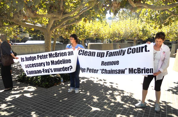 Mothers at protest to remove Judge McBrien